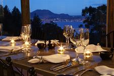 Evening dining around a heated table