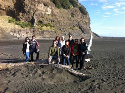 Group shots at Karekare beach 1