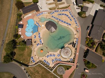 Aerial View Of Thermally Heated Swimming Pool