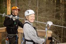Ziptrek Ecotours Elderly Woman Smiling Before Line Ziptrek Ecotours