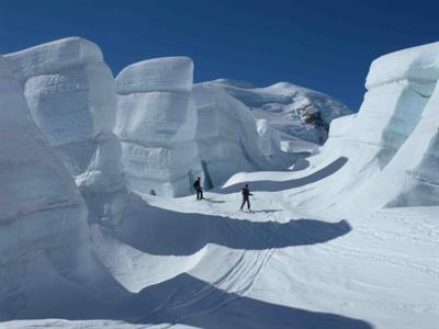 The ice canyons on the Tasman Glacier