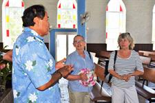Raro Tours - George with Guests in Church Raro Tours