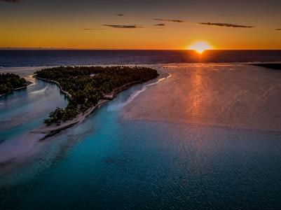 ALPIR - Motu Akitua at Night Aitutaki Lagoon Private Island Resort