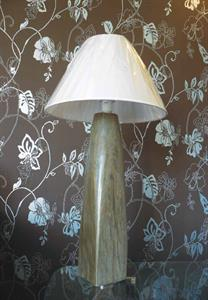 Carved and polished schist table lamp