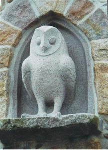 Carved granite owl