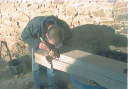 Carving stone fireplace