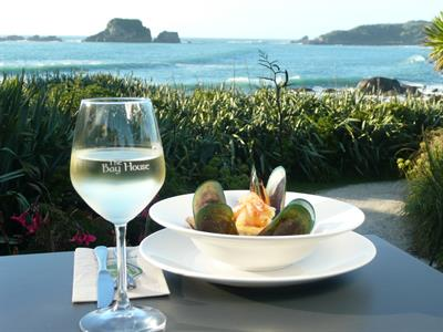 Food and wine The Bay House Cafe, Tauranga Bay, Westport, West Coast.