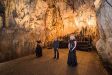 Lyrica performing in Cathedral Cave, Waitomo
