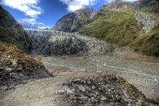Fox Glacier descend into a rainforest
