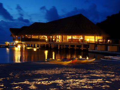 a - Royal Huahine -  sunset over the main restaura