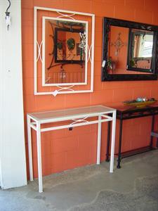 Hall table #2 & mirror White leather Iron Design