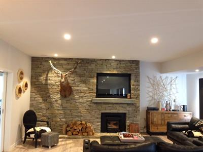 Hyde schist fireplace wall