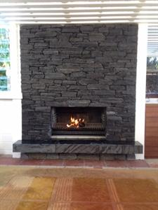 West coast Waitaha schist fireplace