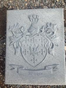 Carved family coat of arms