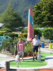 Family fun at the local mini golf Ocean Breeze