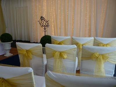 Indoor Ceremony Area Chair Covers Fairy Lights