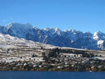 Winter view the Remarkables and lake