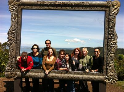 Arataki visitor centre frame group shot 2