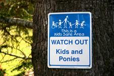 Kids Safe Area! Watch Out! Kids & Ponies Wellington's Kiwi Holiday Park