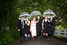 Wet Weather Wedding party Charlemagne Lodge