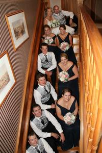 Bridal Party on staircase Charlemagne Lodge