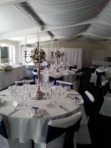 Blue wedding setup Charlemagne Lodge