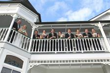 Bridal Party on upper balcony Charlemagne Lodge