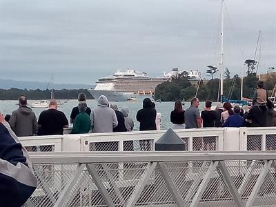Ovation of the Seas arriving in Tauranga Harbour