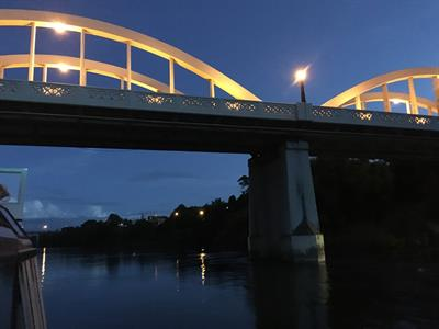 Fairfield Bridge at night Waikato River Explorer